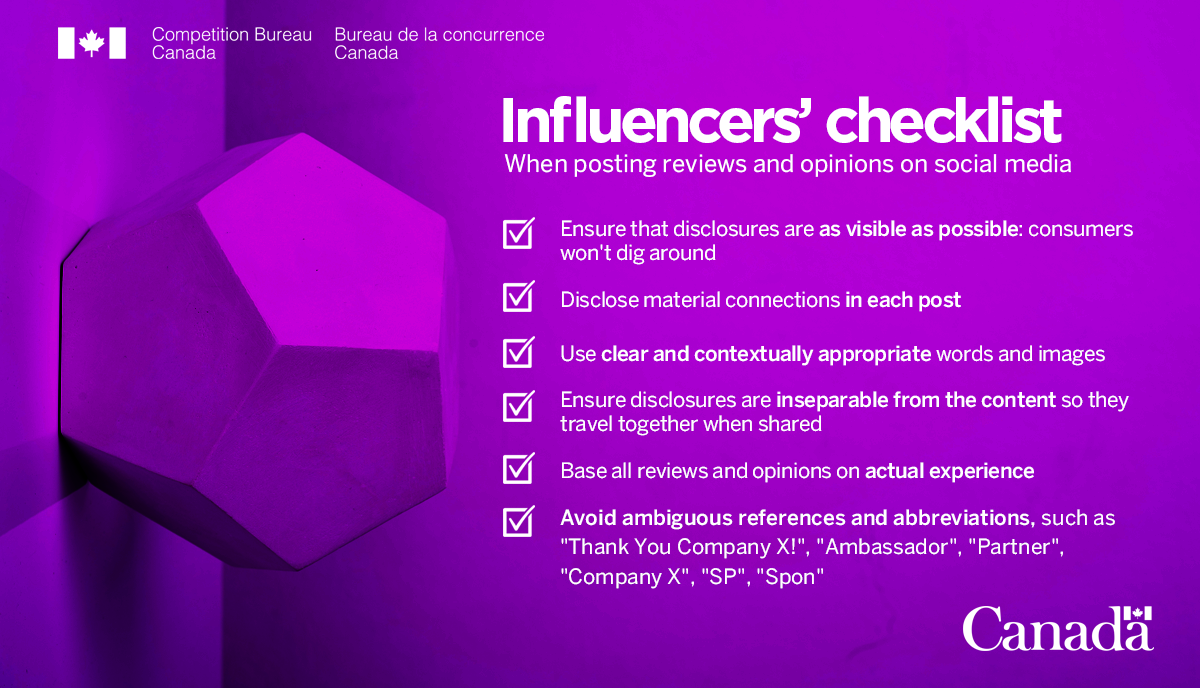 Canadian Competition Bureau Influencer's Checklist